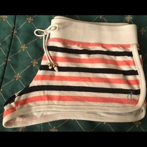 Juicy Couture Pink Navy Blue Stripped Terry Shorts